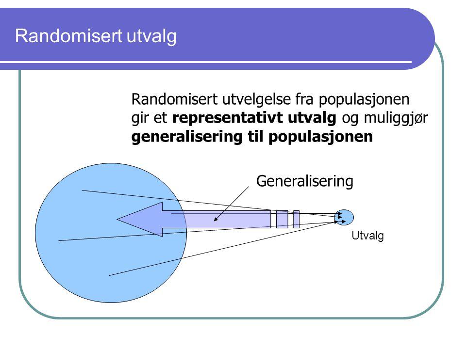 Randomisert utvalg Randomisert utvelgelse fra populasjonen