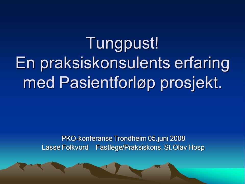 Tungpust! En praksiskonsulents erfaring med Pasientforløp prosjekt.