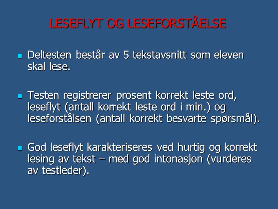 LESEFLYT OG LESEFORSTÅELSE