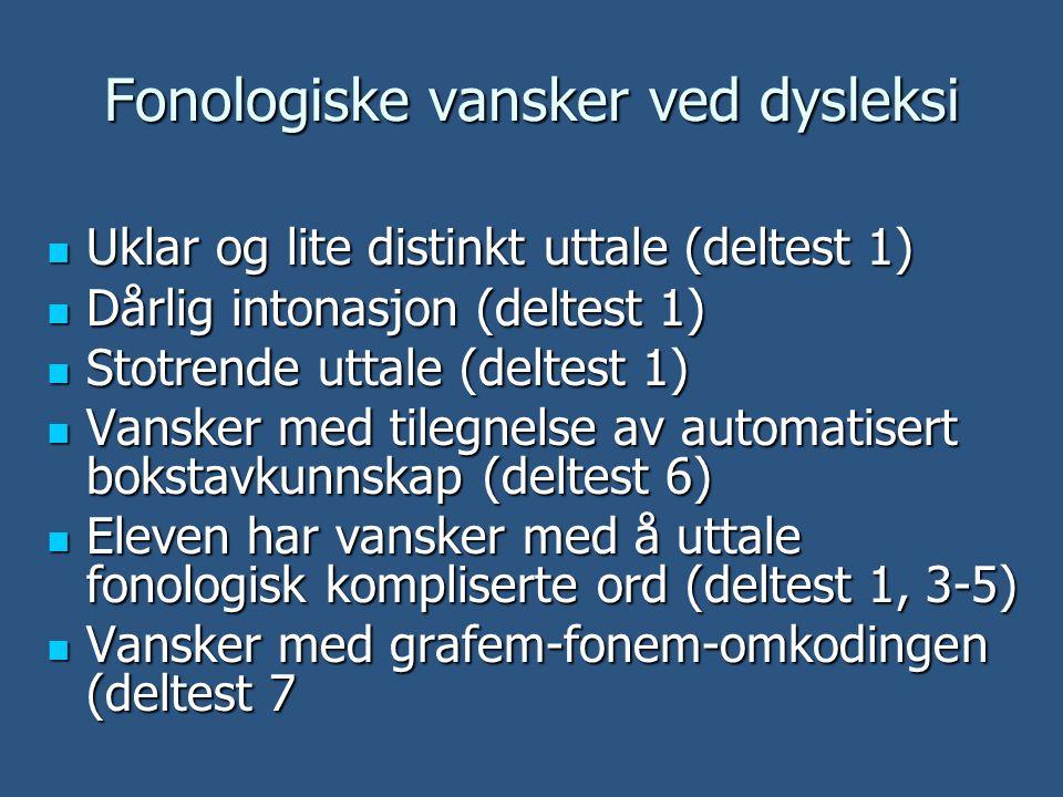 Fonologiske vansker ved dysleksi