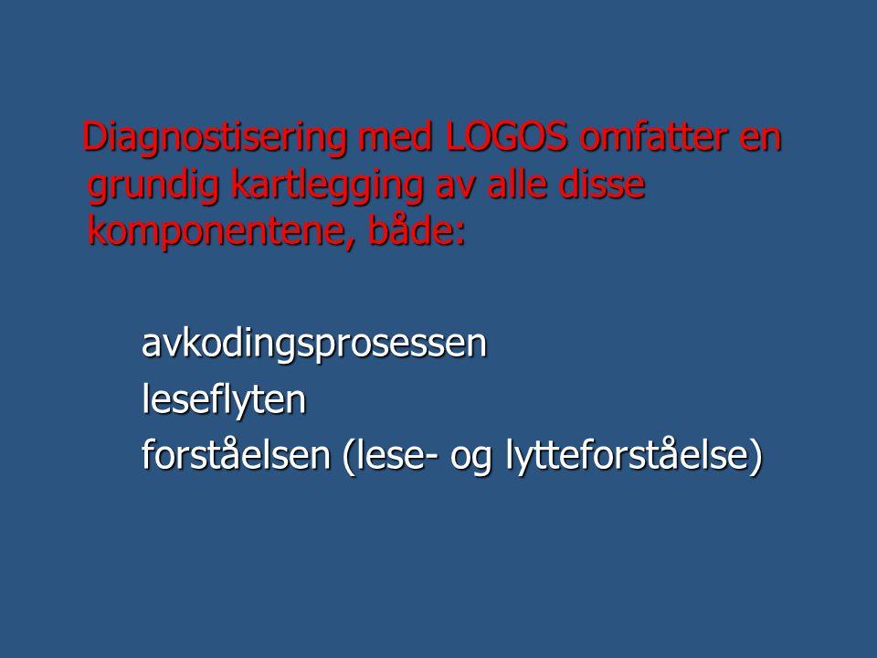 Diagnostisering med LOGOS omfatter en grundig kartlegging av alle disse komponentene, både: