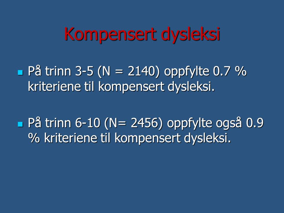 Kompensert dysleksi På trinn 3-5 (N = 2140) oppfylte 0.7 % kriteriene til kompensert dysleksi.