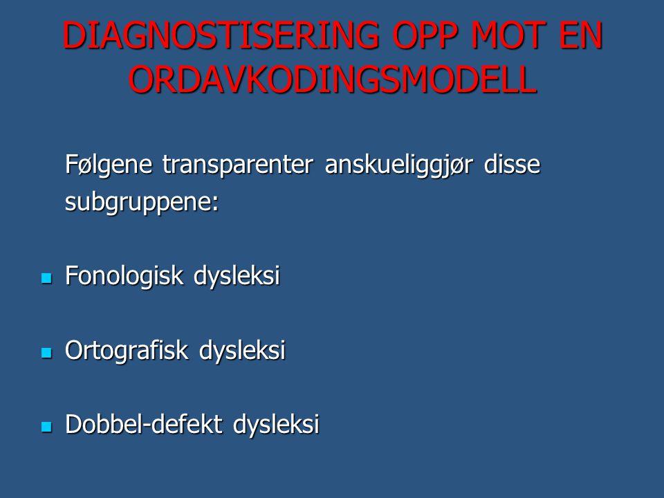 DIAGNOSTISERING OPP MOT EN ORDAVKODINGSMODELL