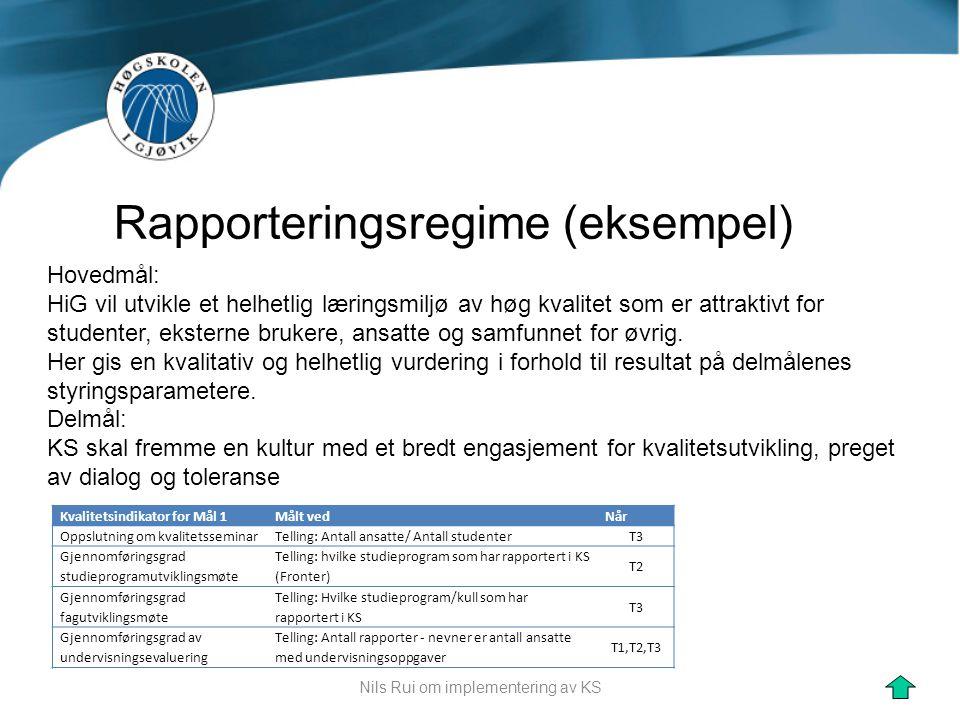 Rapporteringsregime (eksempel)