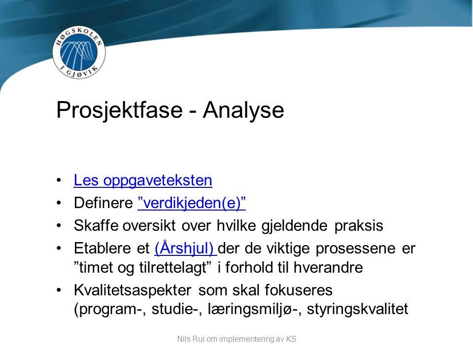 Prosjektfase - Analyse