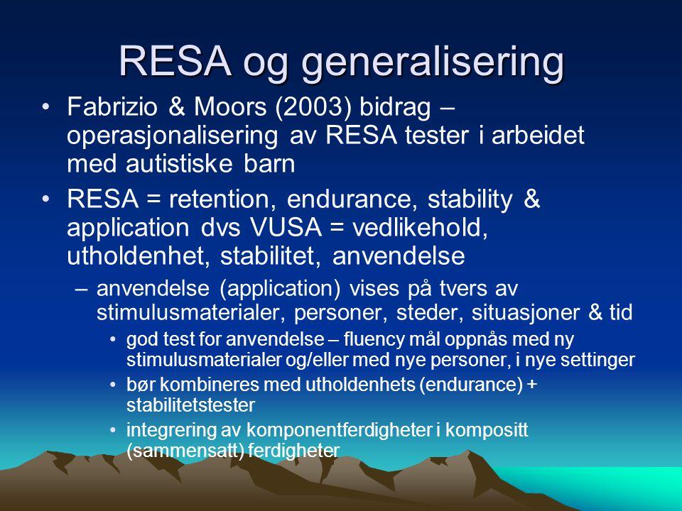 RESA og generalisering