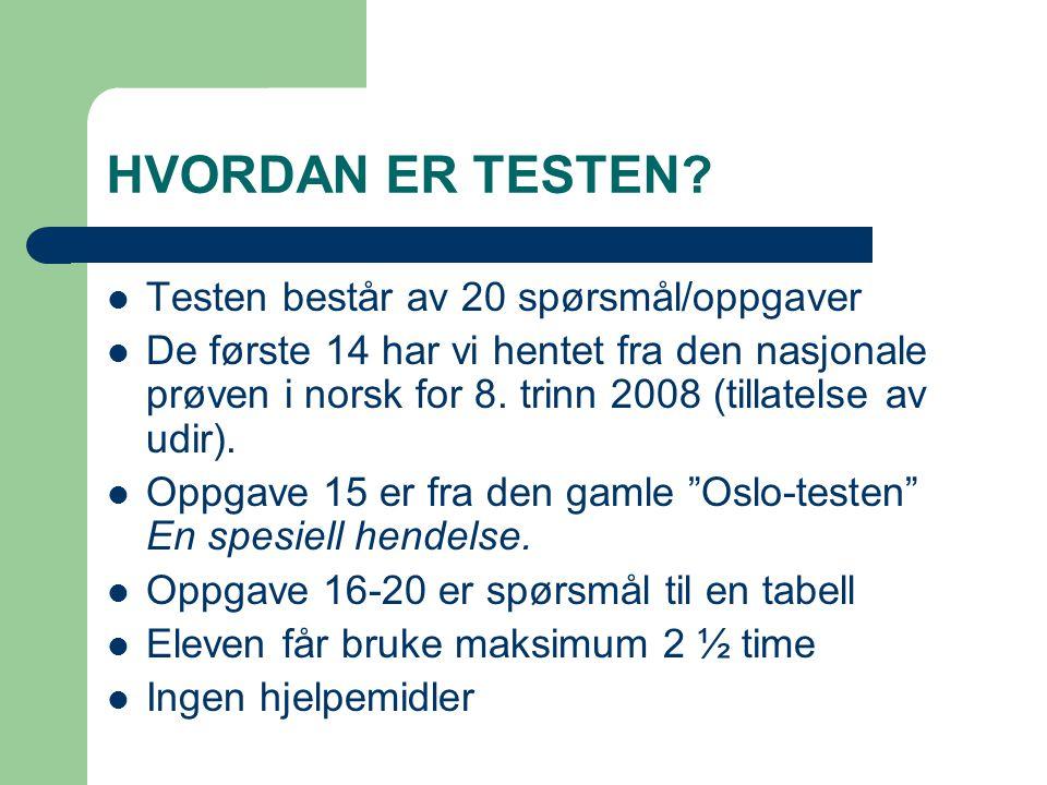 HVORDAN ER TESTEN Testen består av 20 spørsmål/oppgaver