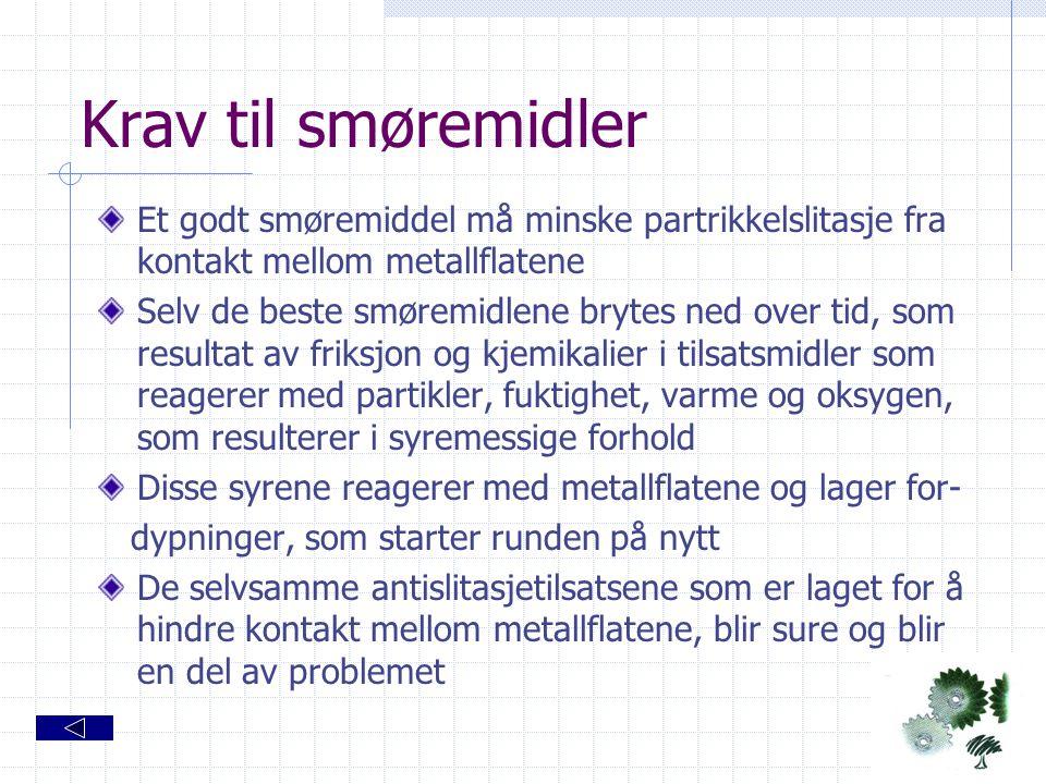 Krav til smøremidler Et godt smøremiddel må minske partrikkelslitasje fra kontakt mellom metallflatene.