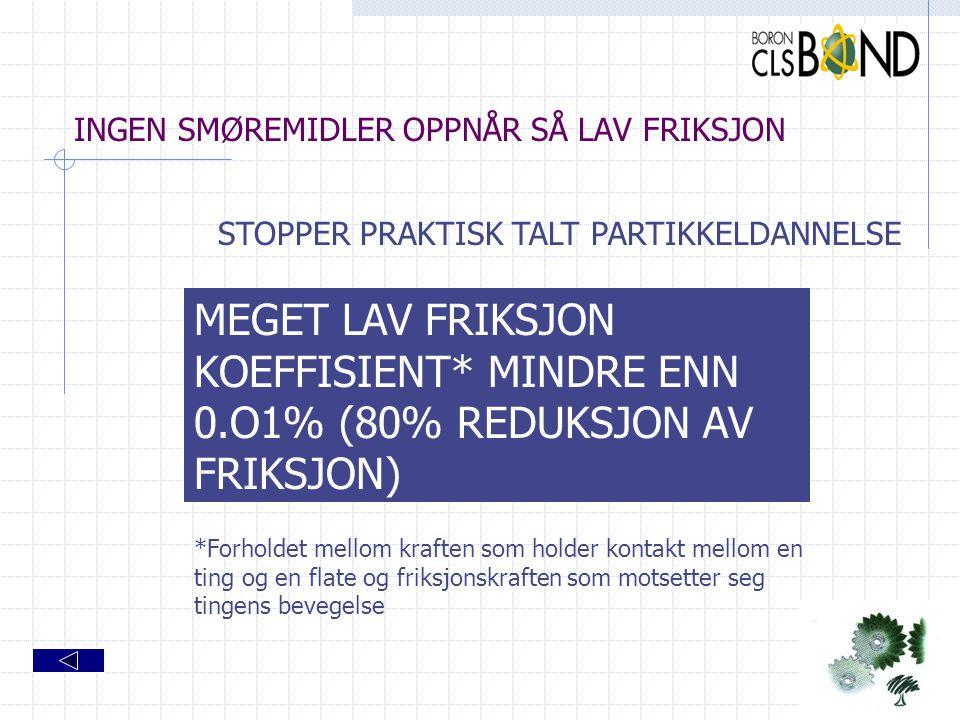 INGEN SMØREMIDLER OPPNÅR SÅ LAV FRIKSJON
