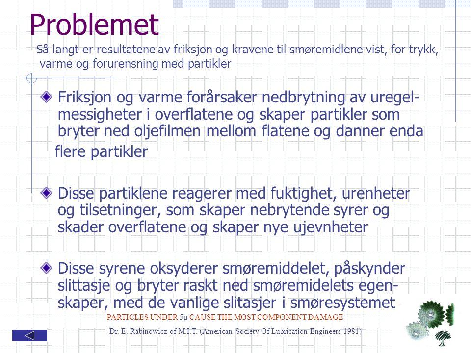 Problemet Så langt er resultatene av friksjon og kravene til smøremidlene vist, for trykk, varme og forurensning med partikler.