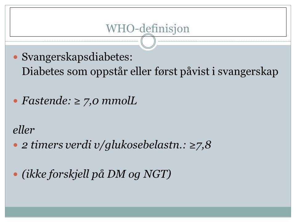 WHO-definisjon Svangerskapsdiabetes: