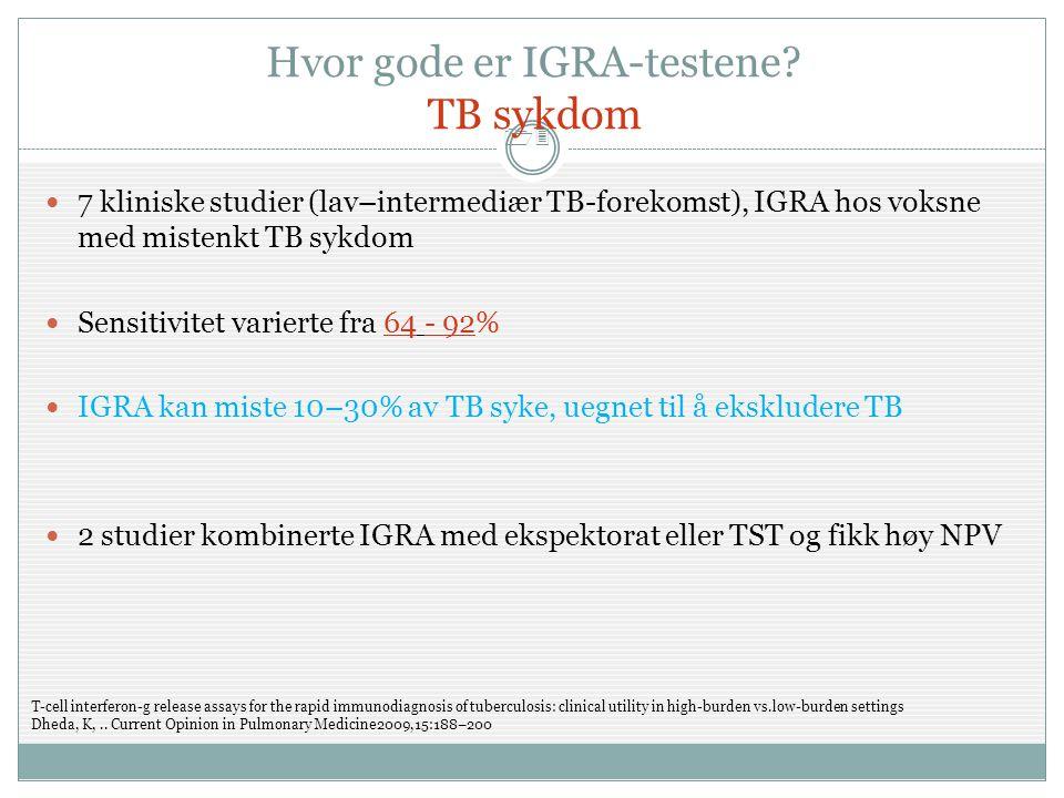 Hvor gode er IGRA-testene TB sykdom