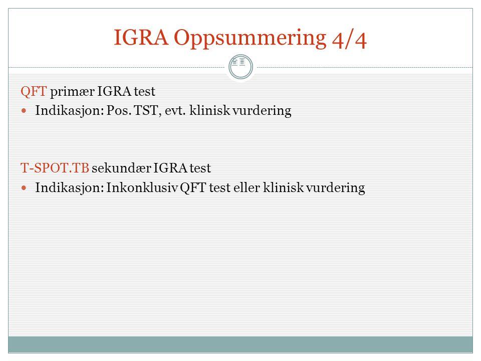 IGRA Oppsummering 4/4 QFT primær IGRA test