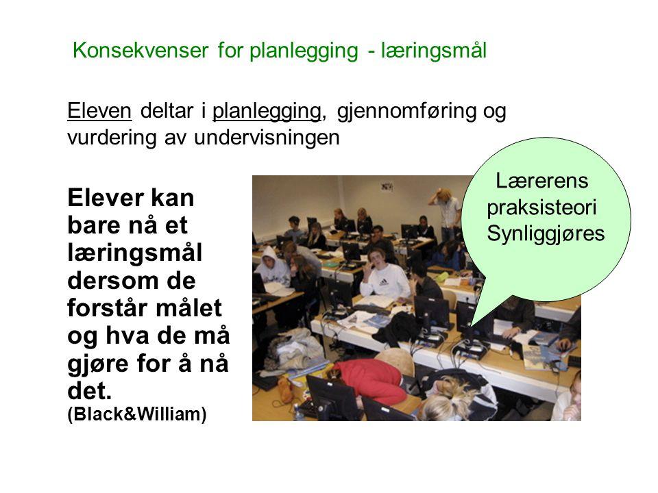 Konsekvenser for planlegging - læringsmål