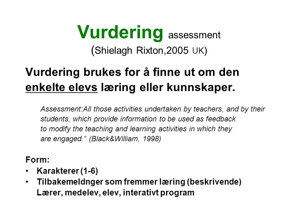 Vurdering assessment (Shielagh Rixton,2005 UK)