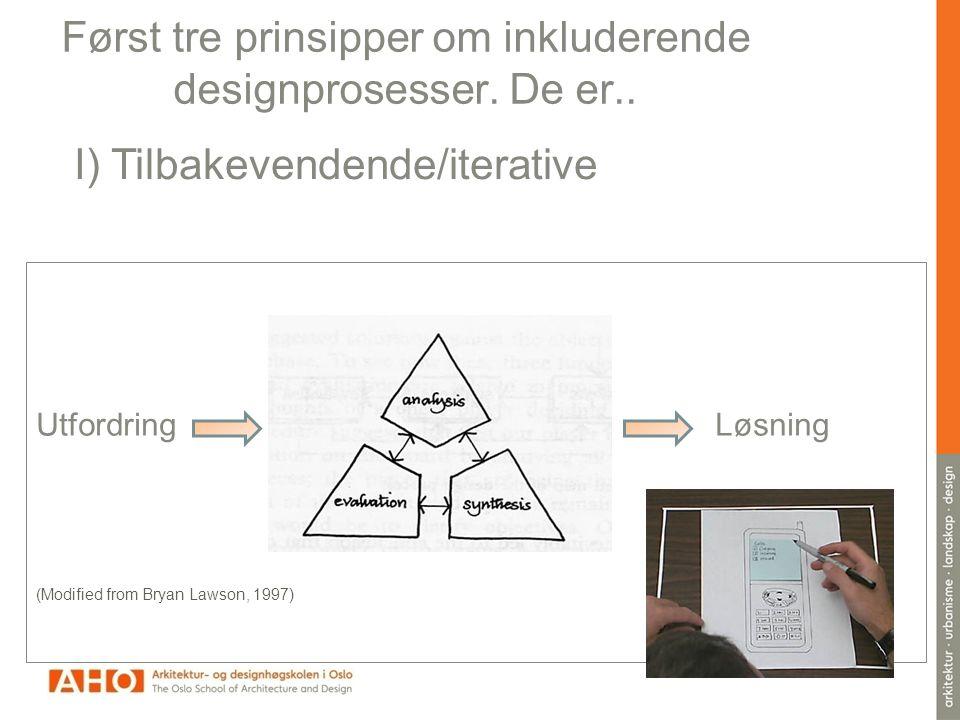 Først tre prinsipper om inkluderende designprosesser. De er..