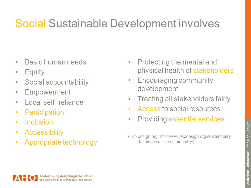 Social Sustainable Development involves