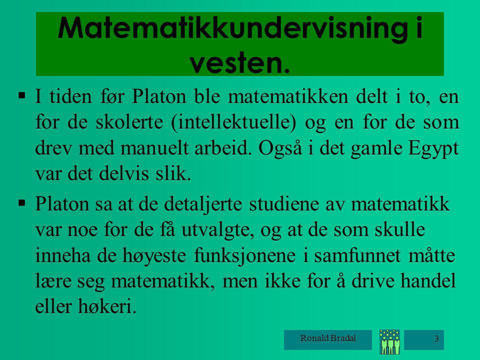 Matematikkundervisning i vesten.