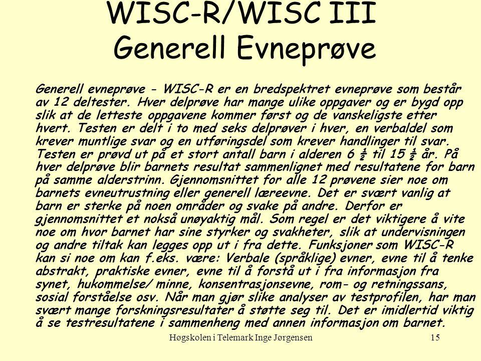 WISC-R/WISC III Generell Evneprøve