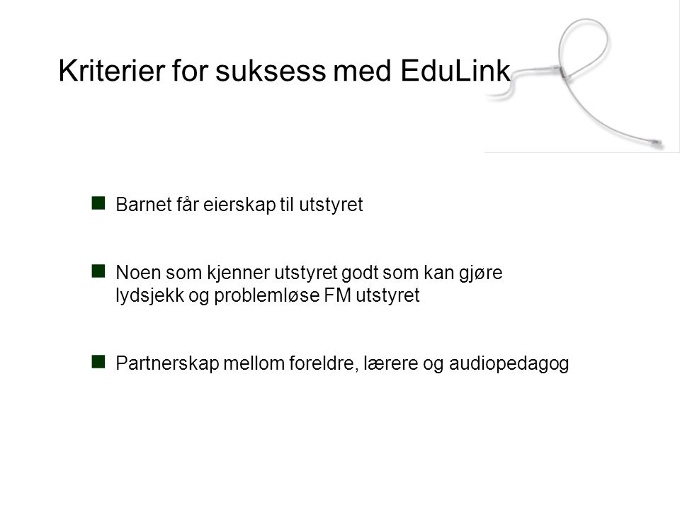 Kriterier for suksess med EduLink