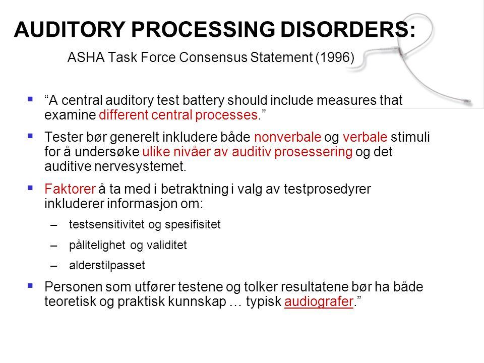 ASHA Task Force Consensus Statement (1996)