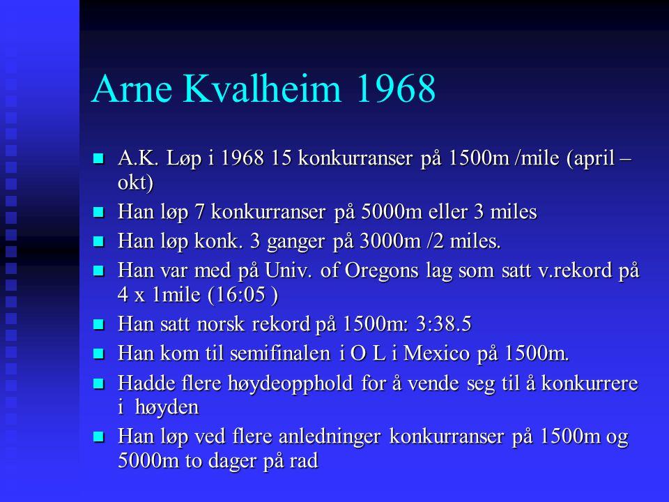 Arne Kvalheim 1968 A.K. Løp i 1968 15 konkurranser på 1500m /mile (april –okt) Han løp 7 konkurranser på 5000m eller 3 miles.