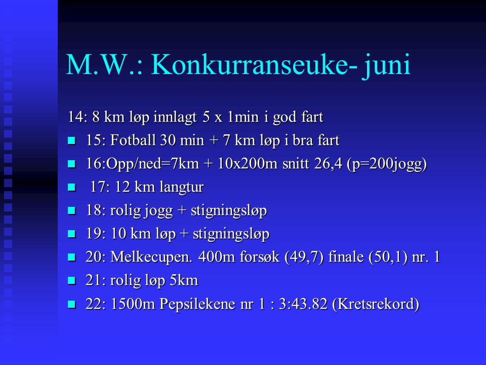 M.W.: Konkurranseuke- juni