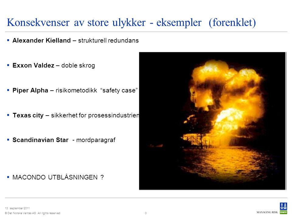 Konsekvenser av store ulykker - eksempler (forenklet)