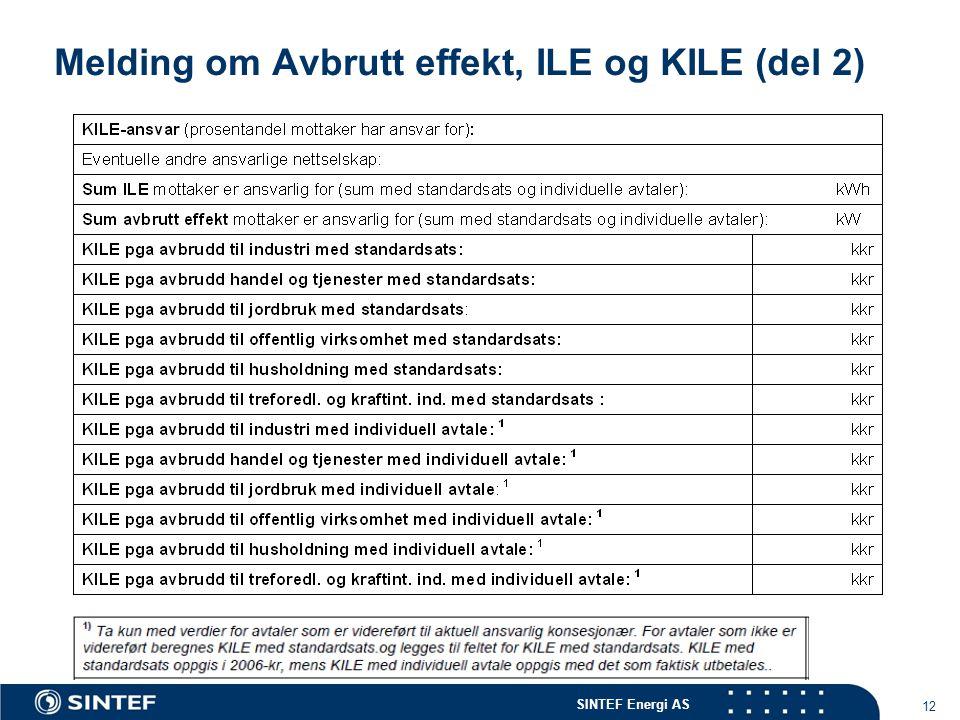 Melding om Avbrutt effekt, ILE og KILE (del 2)