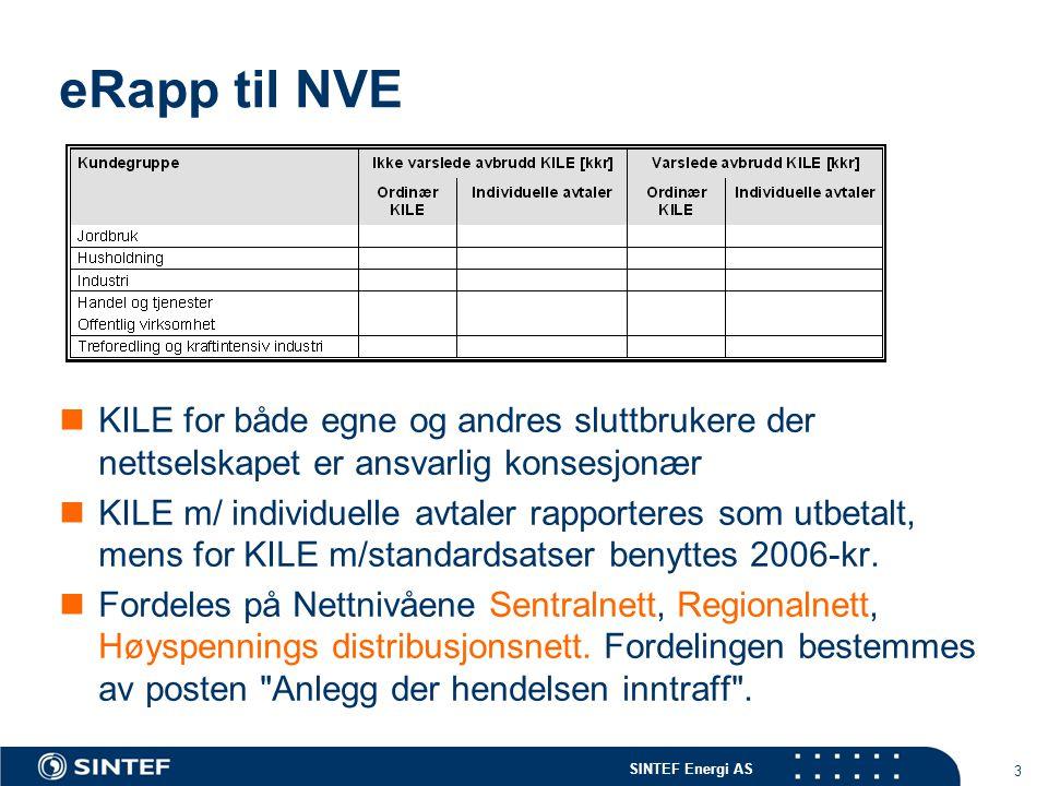 eRapp til NVE KILE for både egne og andres sluttbrukere der nettselskapet er ansvarlig konsesjonær.