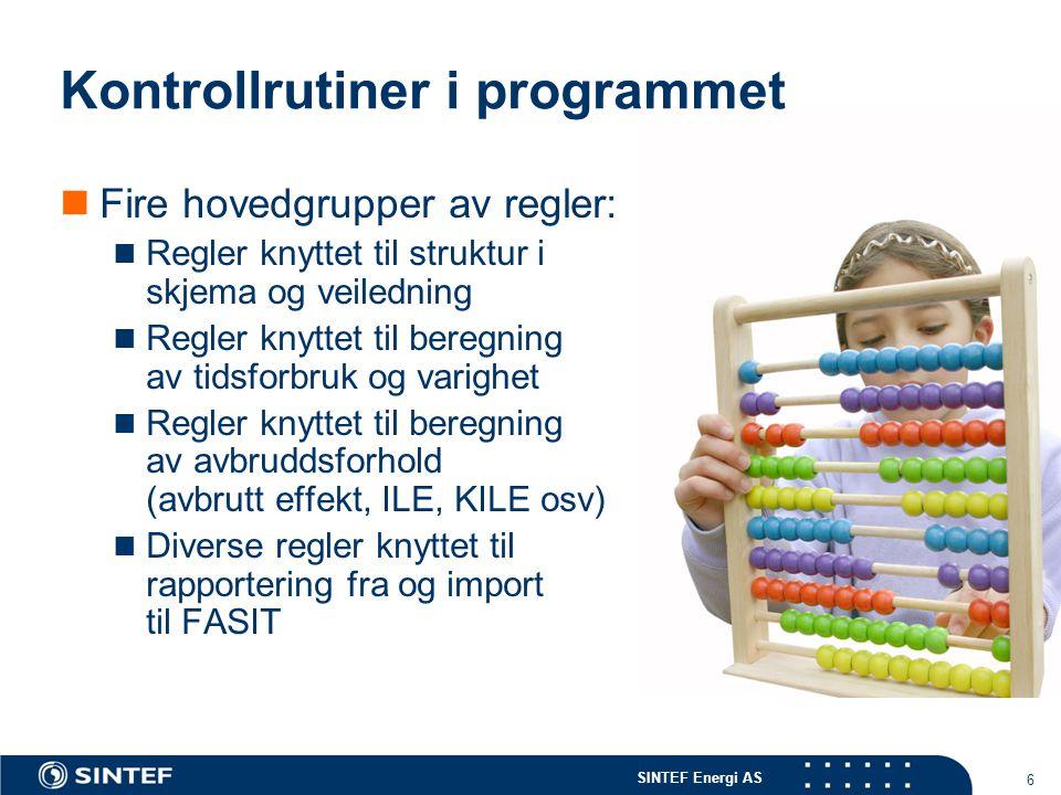 Kontrollrutiner i programmet