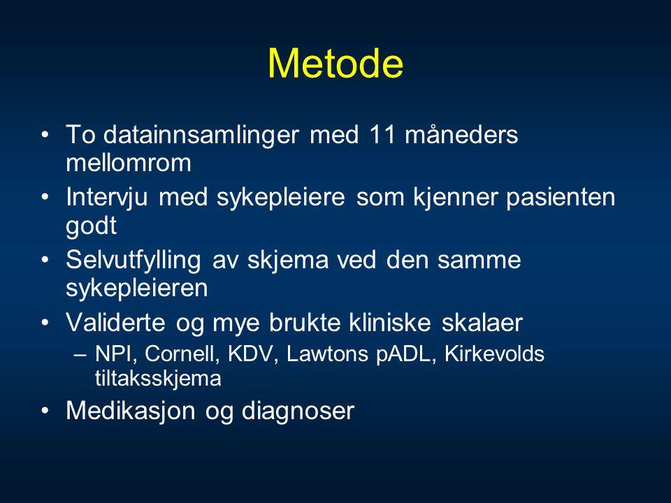 Metode To datainnsamlinger med 11 måneders mellomrom