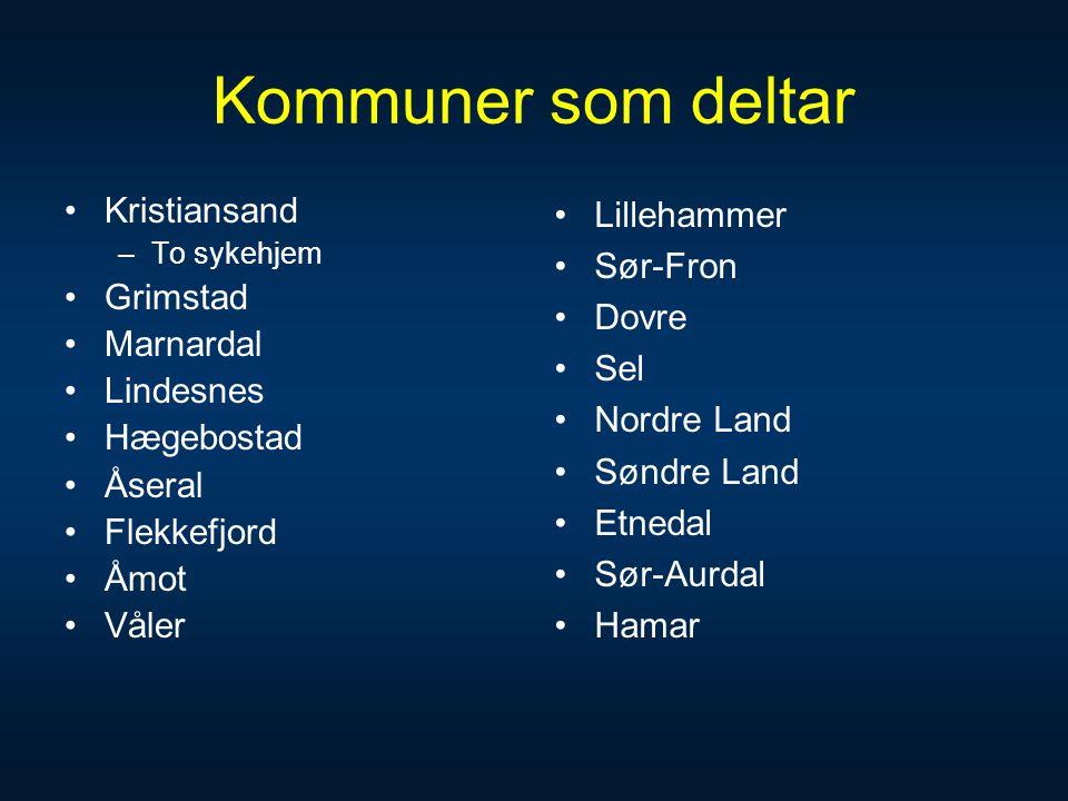 Kommuner som deltar Kristiansand Grimstad Marnardal Lindesnes