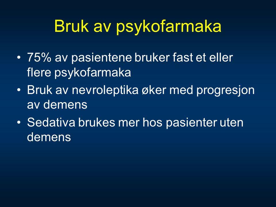 Bruk av psykofarmaka 75% av pasientene bruker fast et eller flere psykofarmaka. Bruk av nevroleptika øker med progresjon av demens.