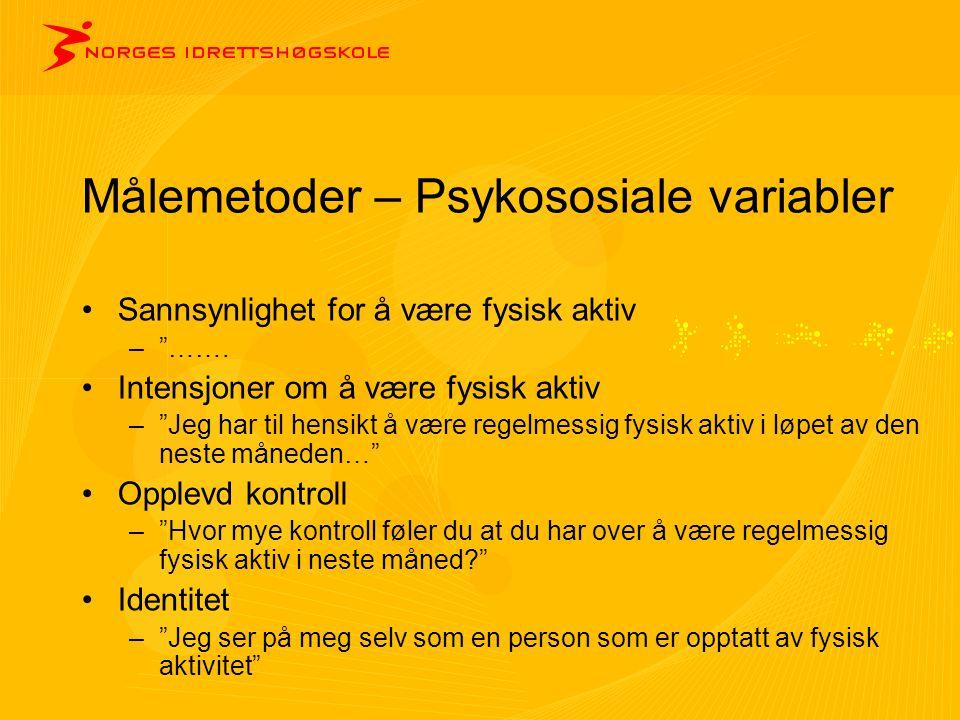 Målemetoder – Psykososiale variabler