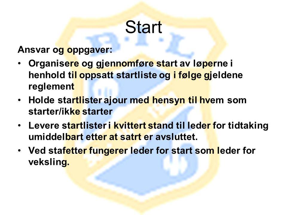 Start Ansvar og oppgaver: