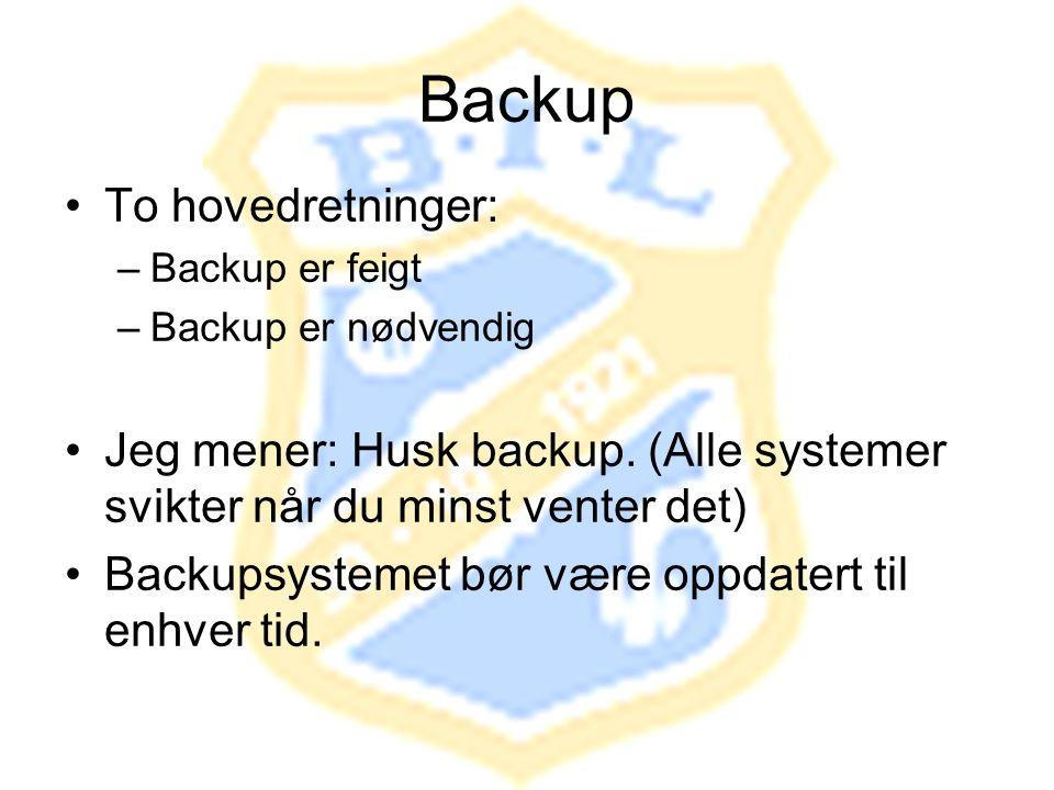 Backup To hovedretninger: