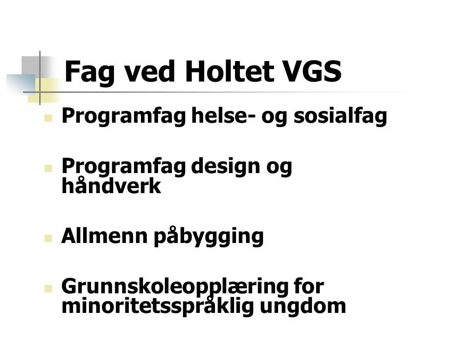 Fag ved Holtet VGS Programfag helse- og sosialfag