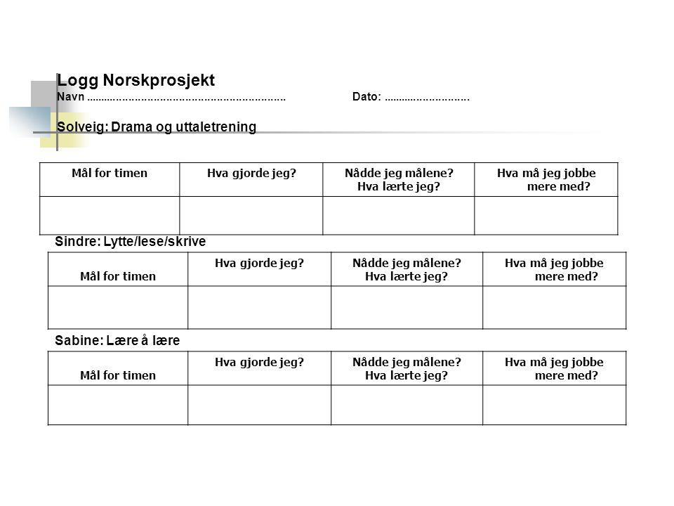 Logg Norskprosjekt Solveig: Drama og uttaletrening