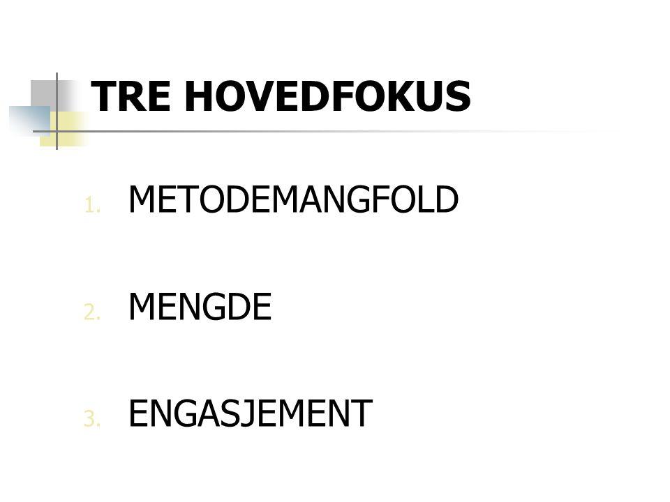 TRE HOVEDFOKUS METODEMANGFOLD MENGDE ENGASJEMENT