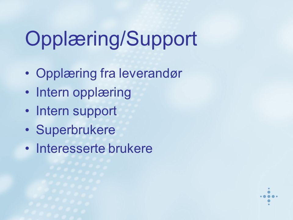 Opplæring/Support Opplæring fra leverandør Intern opplæring