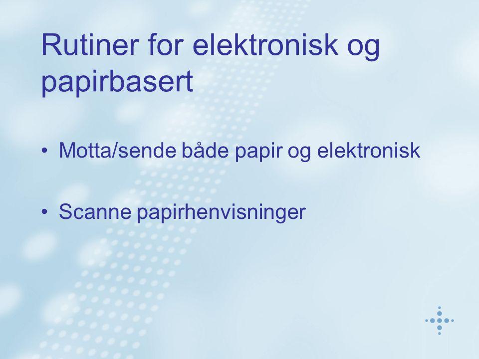 Rutiner for elektronisk og papirbasert