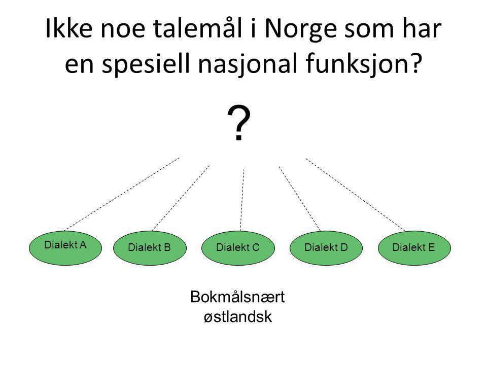 Ikke noe talemål i Norge som har en spesiell nasjonal funksjon