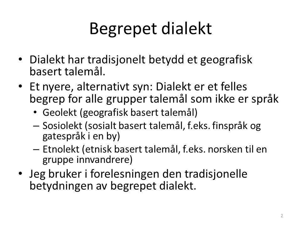 Begrepet dialekt Dialekt har tradisjonelt betydd et geografisk basert talemål.