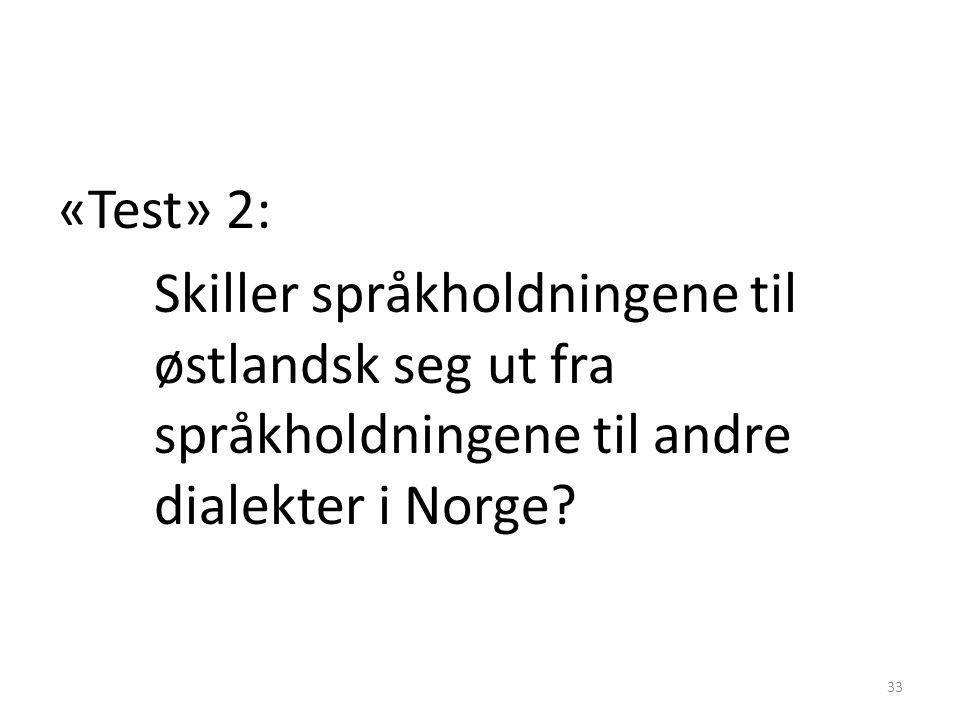 «Test» 2: Skiller språkholdningene til østlandsk seg ut fra språkholdningene til andre dialekter i Norge