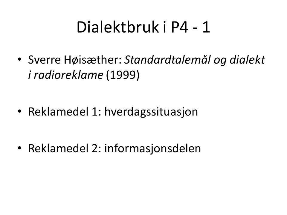 Dialektbruk i P4 - 1 Sverre Høisæther: Standardtalemål og dialekt i radioreklame (1999) Reklamedel 1: hverdagssituasjon.