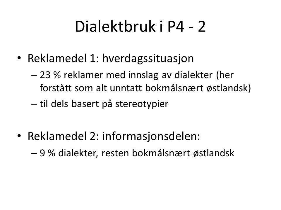 Dialektbruk i P4 - 2 Reklamedel 1: hverdagssituasjon