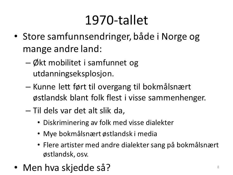 1970-tallet Store samfunnsendringer, både i Norge og mange andre land: