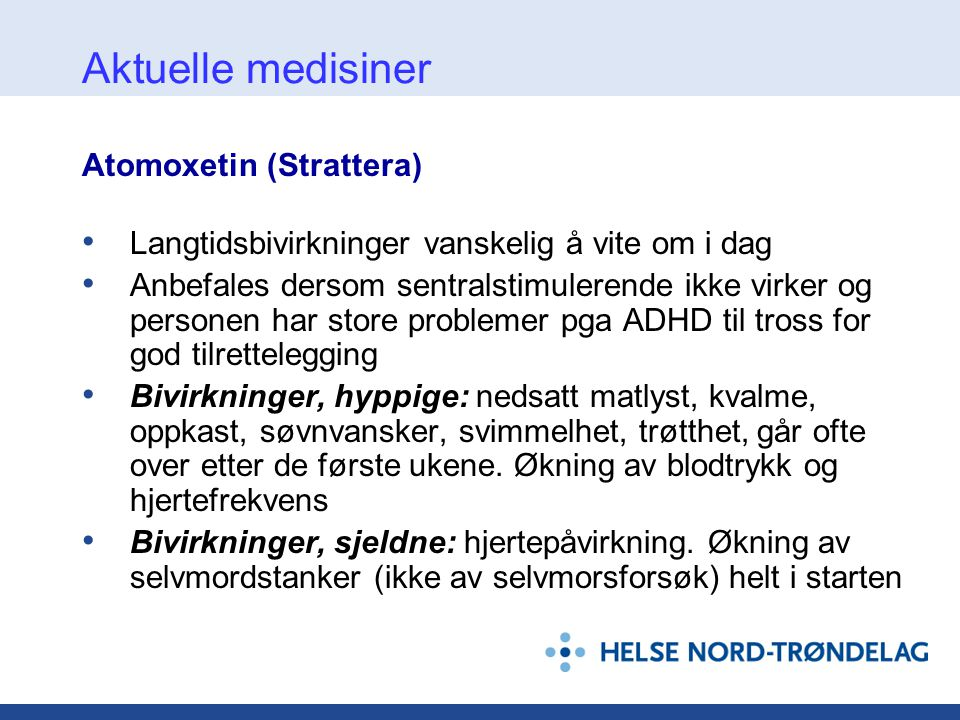 Aktuelle medisiner Atomoxetin (Strattera)