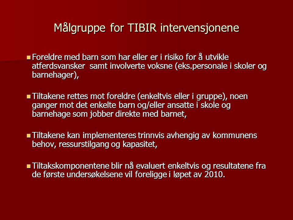 Målgruppe for TIBIR intervensjonene